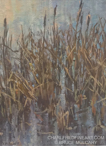 'Rushes In The Lake' - Gouache Painting