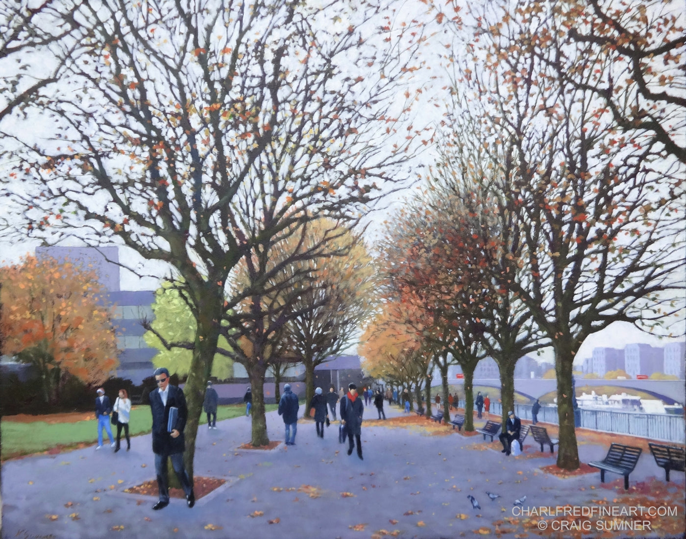 'Autumn - South Bank' London Cityscape- Oil Painting