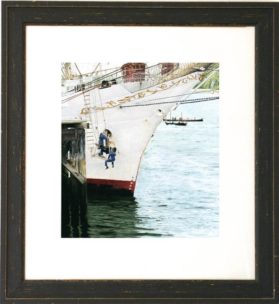 Dar Mlodziezy tall ship framed nautical art figurative painting artist Jacqueline Gaylard.