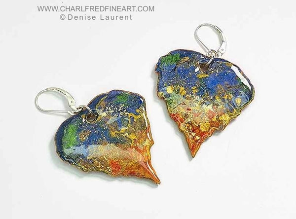 Silver Birch leaf dangle earrings contemporary jewellery by Denise Laurent