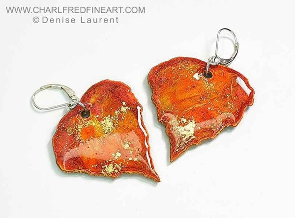 Silver Birch leaf dangle earrings by Denise Laurent