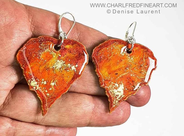Silver Birch leaf drop earrings by Denise Laurent