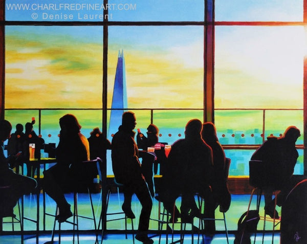 Sky Garden London, cityscape painting by Denise Laurent