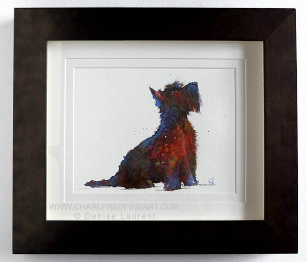 Whisky Scottie terrier dog animal art by Denise Laurent.