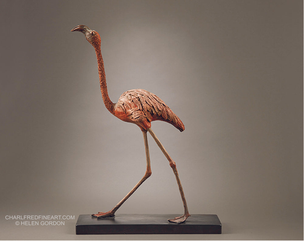 'Flamingo' - Bird Bronze Sculpture