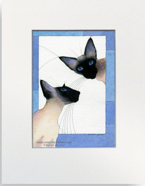 Love Siamese Seal Point cat art painting by Marian Forster.