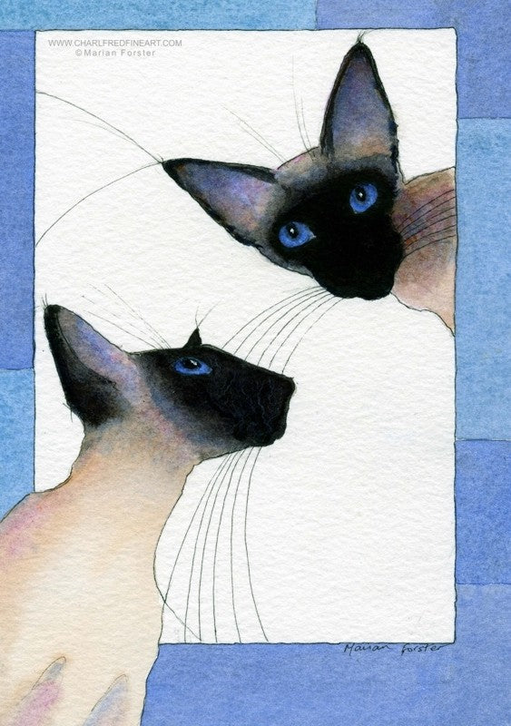 Love Siamese Seal Point cat art by Marian Forster.