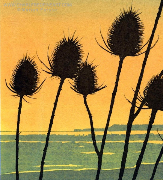 Teasel flower landscape screen print by Marian Forster.
