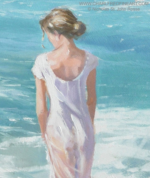 Standing In The Foam beach figurative art painting detail by Nicholas St. John Rosse RSMA.