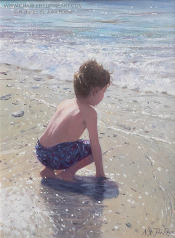 Waiting & Watching beach painting by Nicholas St. John Rosse RSMA.