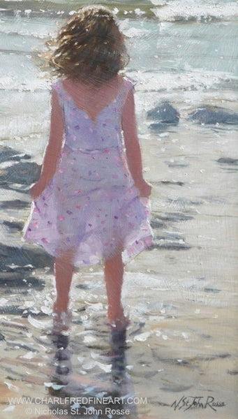 Bright Waves figurative art beach painting by Nicholas St. John Rosse