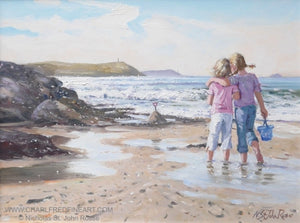 At Baby Bay beach painting by Nicholas St. John Rosse RSMA.