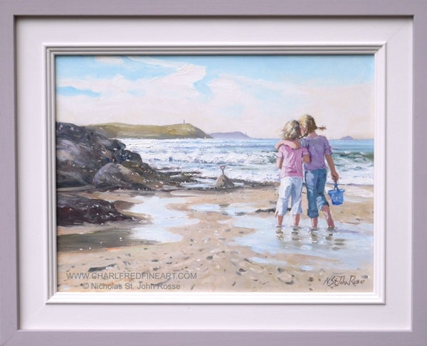 At Baby Bay framed figurative art by Nicholas St. John Rosse RSMA.