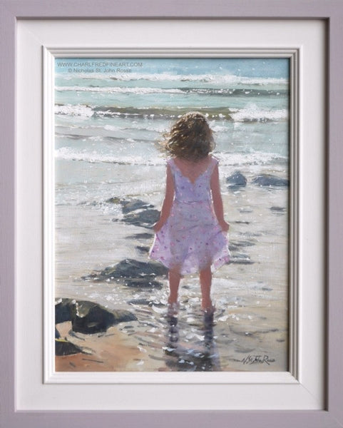Bright Waves figurative art framed beach painting by Nicholas St. John Rosse R.S.M.A