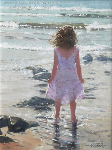 Bright Waves figurative art beach painting by Nicholas St. John Rosse R.S.M.A