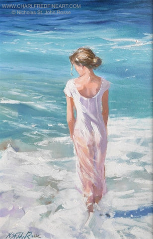 Standing In The Foam beach figurative art painting by Nicholas St. John Rosse RSMA.