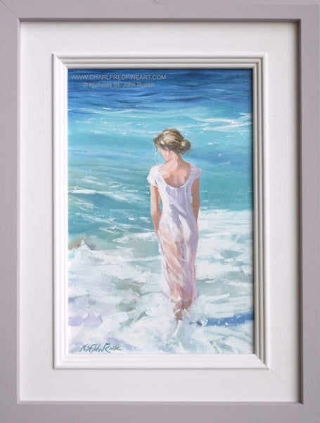 Standing In The Foam figurative art framed painting by Nicholas St. John Rosse RSMA.