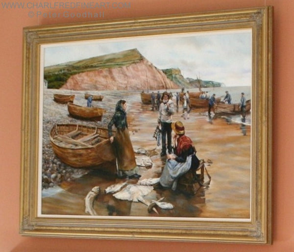 A Fish Sale on Sidmouth Beach Devon - Beach framed painting by Peter Goodhall.