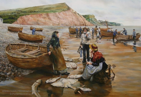 A Fish Sale on Sidmouth Beach Devon - Beach painting by Peter Goodhall.