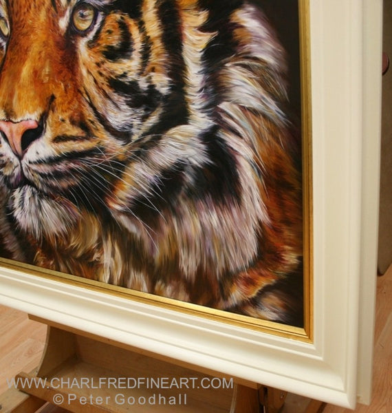 Bengal Prince Tiger - framed animal art painting by Peter Goodhall.