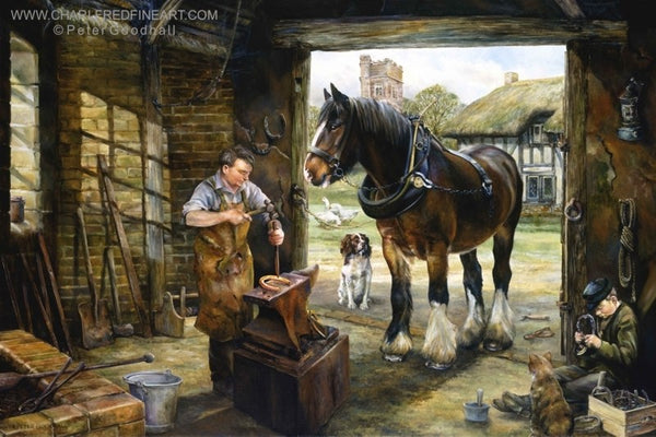 Inside The Smithy animal art print by Peter Goodhall.