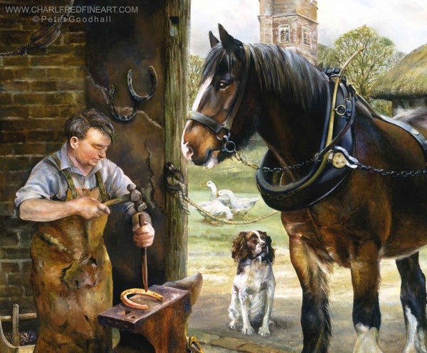 Inside The Smithy figurative art print by Peter Goodhall.