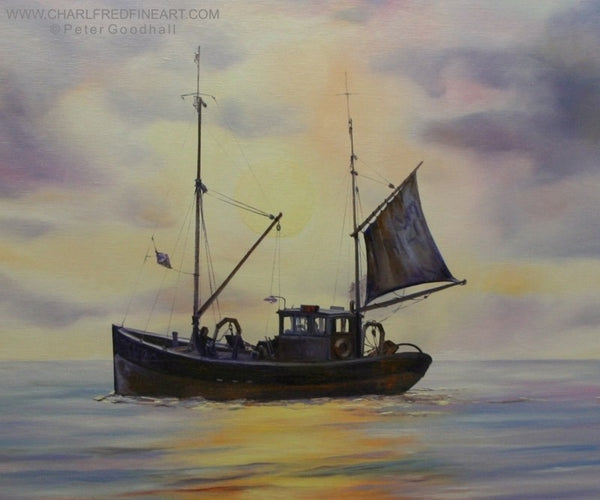 Leaving the Mooring nautical art boat painting by Peter Goodhall.