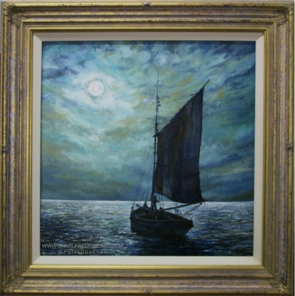 Moonlight Sailing framed nautical art painting by Peter Goodhall.