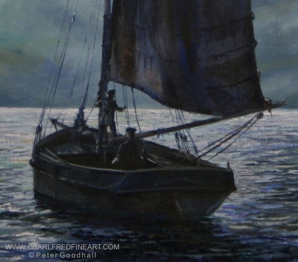 Moonlight Sailing nautical art canvas painting by Peter Goodhall.