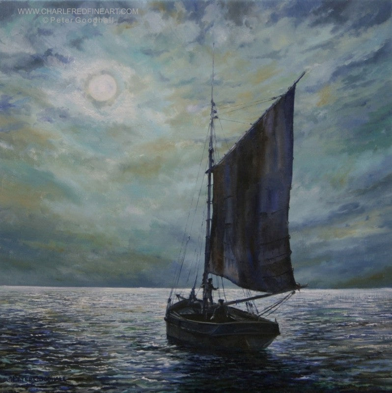 Moonlight Sailing nautical art painting by Peter Goodhall.