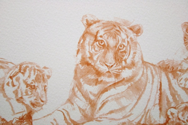 Watch with Mother Tiger with Cubs animal art print by Peter Goodhall.