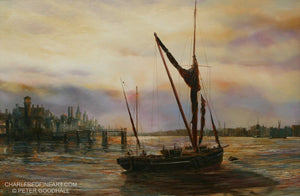 'Evening on the River' Marine Art- Oil Painting