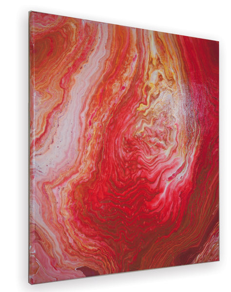 Rhapsody in Red abstract art acrylic pour modern canvas painting detail artist Carole Gaylard.