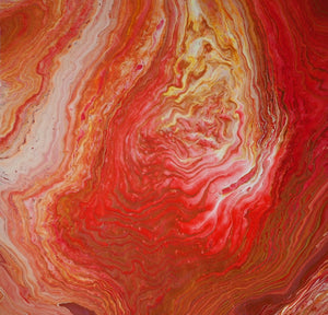 Rhapsody in Red abstract art acrylic pour modern canvas painting detail artist C. Gaylard.