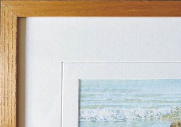 British Coast beach painting beech wood frame detail
