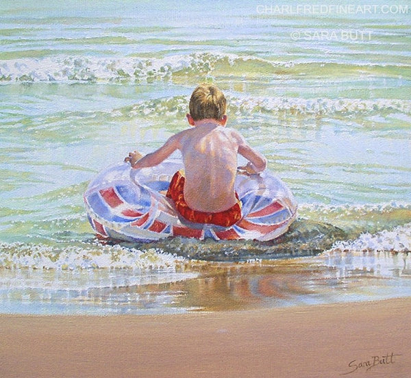 British Coast beach painting nautical art by Sara Butt.