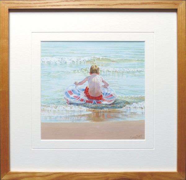 British Coast nautical art framed beach painting.