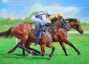 The Final Furlong race horses animal art painting by artist Sara Butt