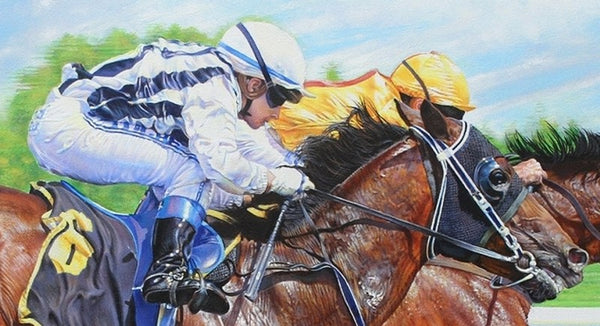 The Final Furlong racing horses animal art painting.  Equine painting by artist Sara Butt.