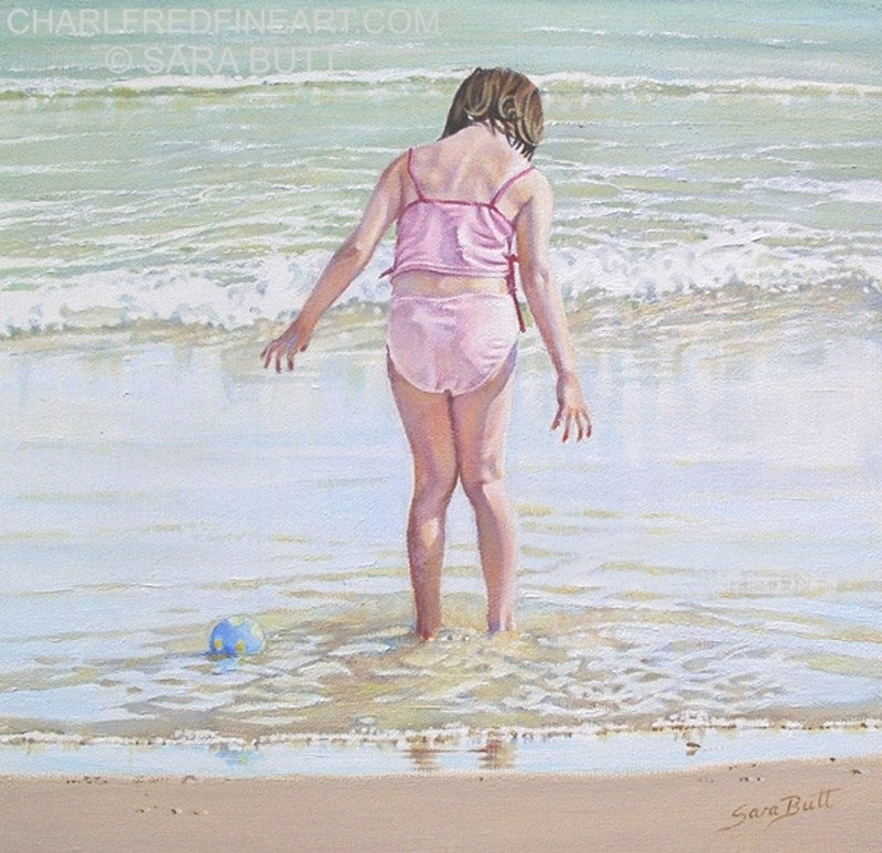 Lost Ball beach painting nautical art by artist Sara Butt