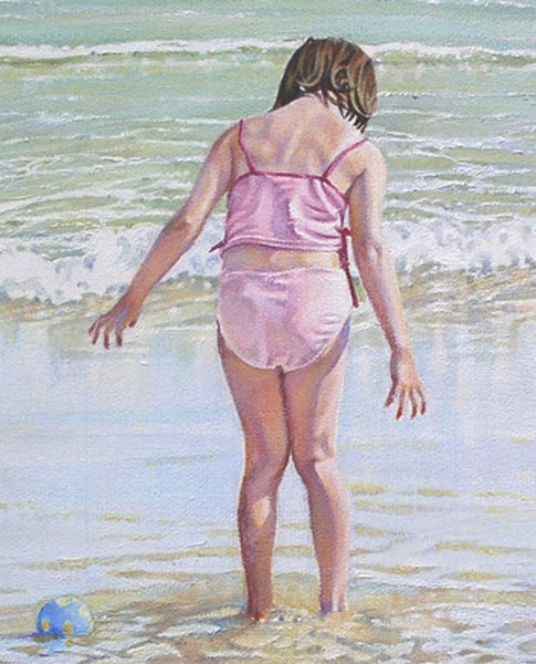 Lost Ball nautical art beach painting by artist Sara Butt