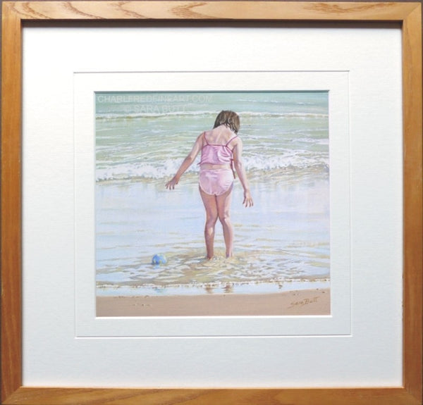 Lost Ball nautical art framed beach painting.