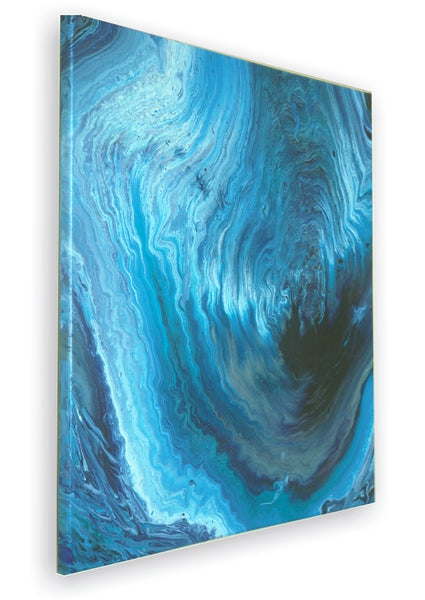 True Blue abstract art acrylic pour modern canvas painting artist Carole Gaylard.