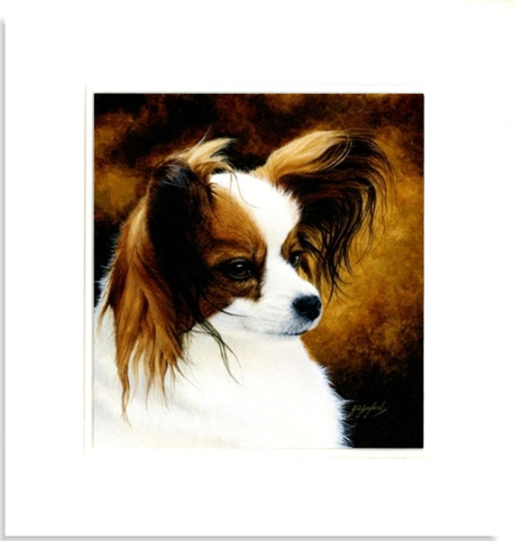 Lady Papillon toy spaniel dog mounted animal art painting by Jacqueline Gaylard.