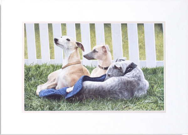 Three Whippets dog animal art painting, artist J. Gaylard.