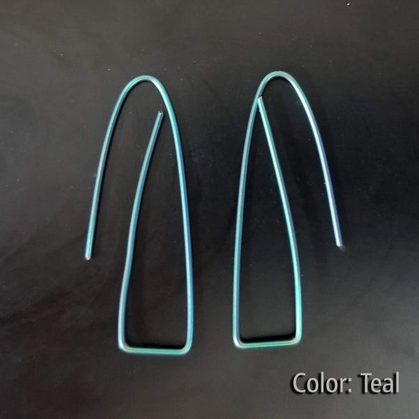 Niobium Long Triangle Earrings