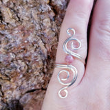 Cosmic Spiral Ring, Rhodonite Pink Stone<br>FREE SHIPPING IN US