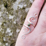 Cosmic Spiral Ring with Green Russian Serpentine Stone