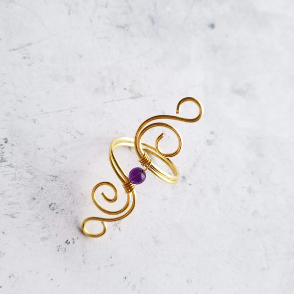 Cosmic Spiral Ring with Amethyst Stone<br>FREE SHIPPING IN US
