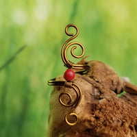 Cosmic Spiral Ring with Red Coral Stone
